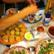 Preparando los platos