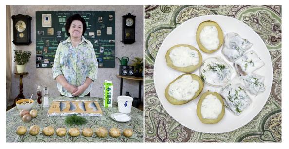 Latvia, arenque con patatas y queso