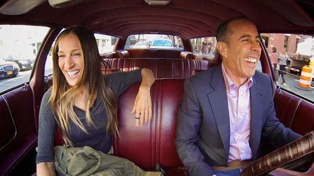 Sarah Jessica Parker y Jerry Seinfield en el coche de la actriz