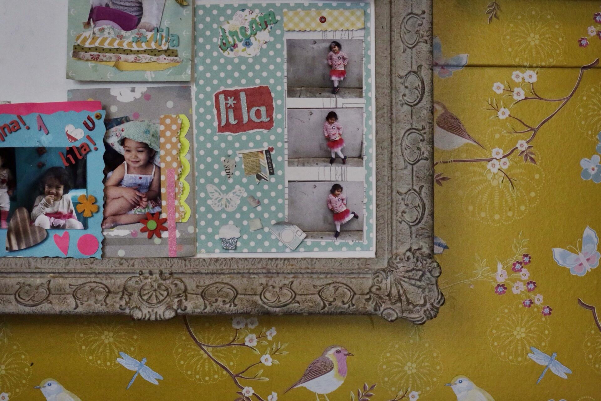Un collage con su hija Lila