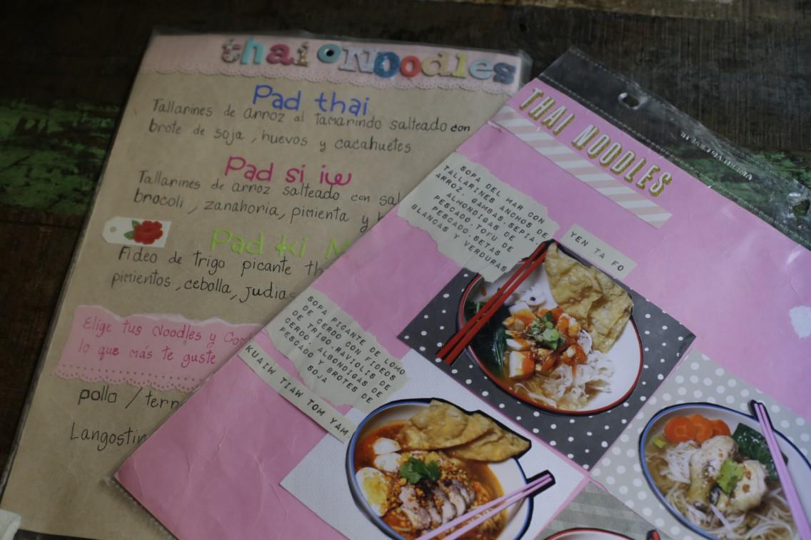 La carta del Thai Noodles