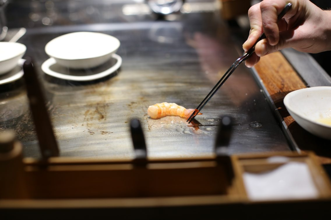 The gently cooked shrimp at Enigma's teppanyaki