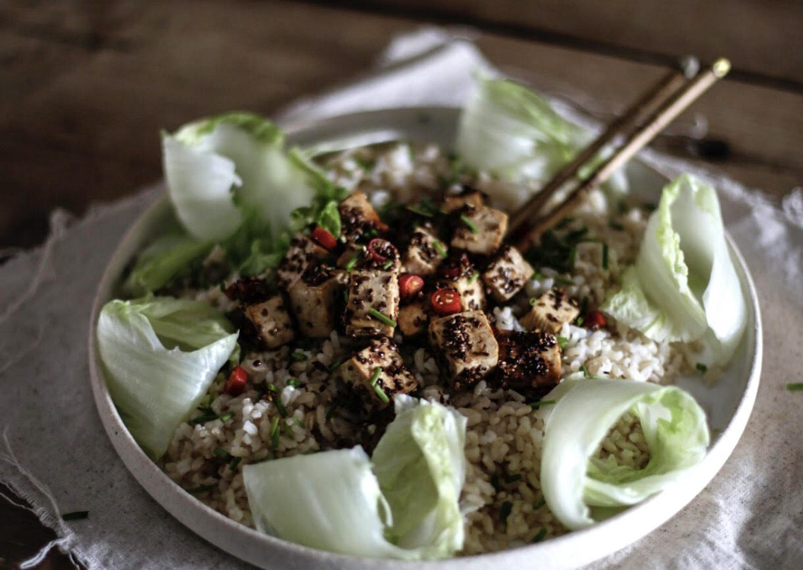 Recipe sticky tofu with ginger and sesame and pak choy