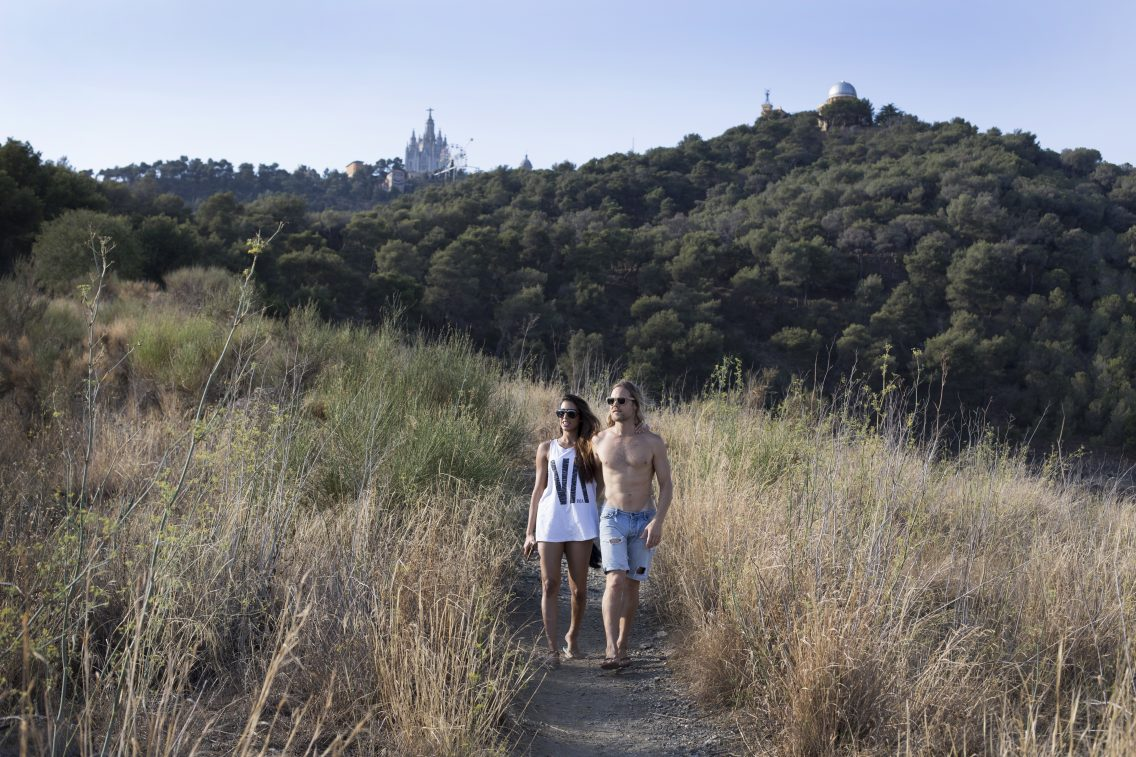 Mark and Deepika walking around the Tibidabo mountain in Barcelona